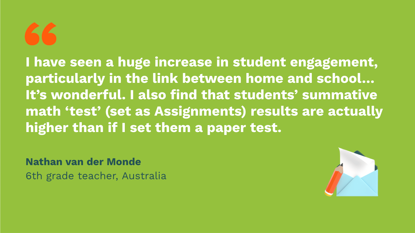 I have seen a huge increase in student engagement, particularly in the link between home and school… It's wonderful. I also find that students' summative math 'test' (set as Assignments) results are actually higher than if I set them a paper test.Nathan van der Monde, sixth Grade Teacher, Australia.
