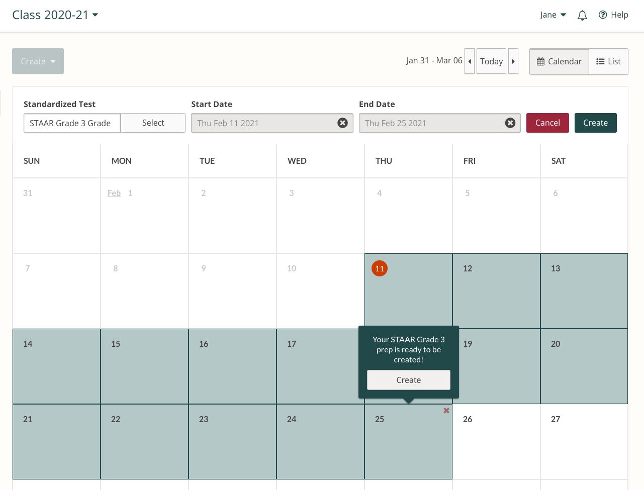 Screenshot of the process for selecting the start and end date for a Test Prep in the Prodigy teacher dashboard.