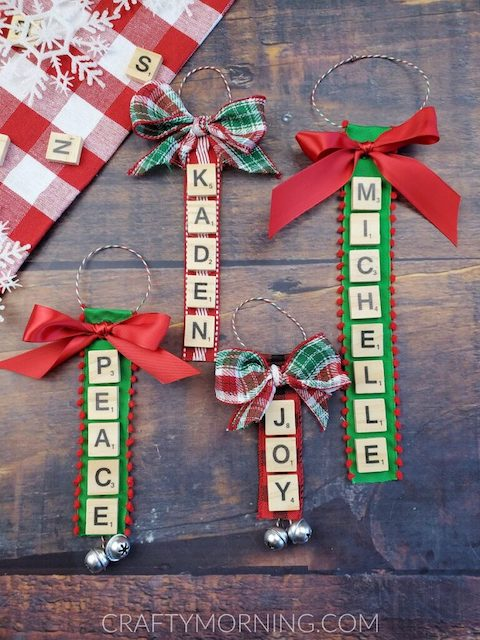 Red and green homemade Scrabble tile keychains
