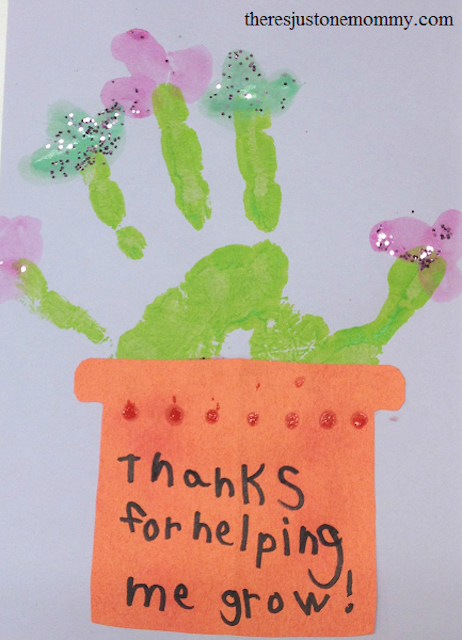 "Homemade card with a plant painted on it that reads ""thanks for helping me grow!"""