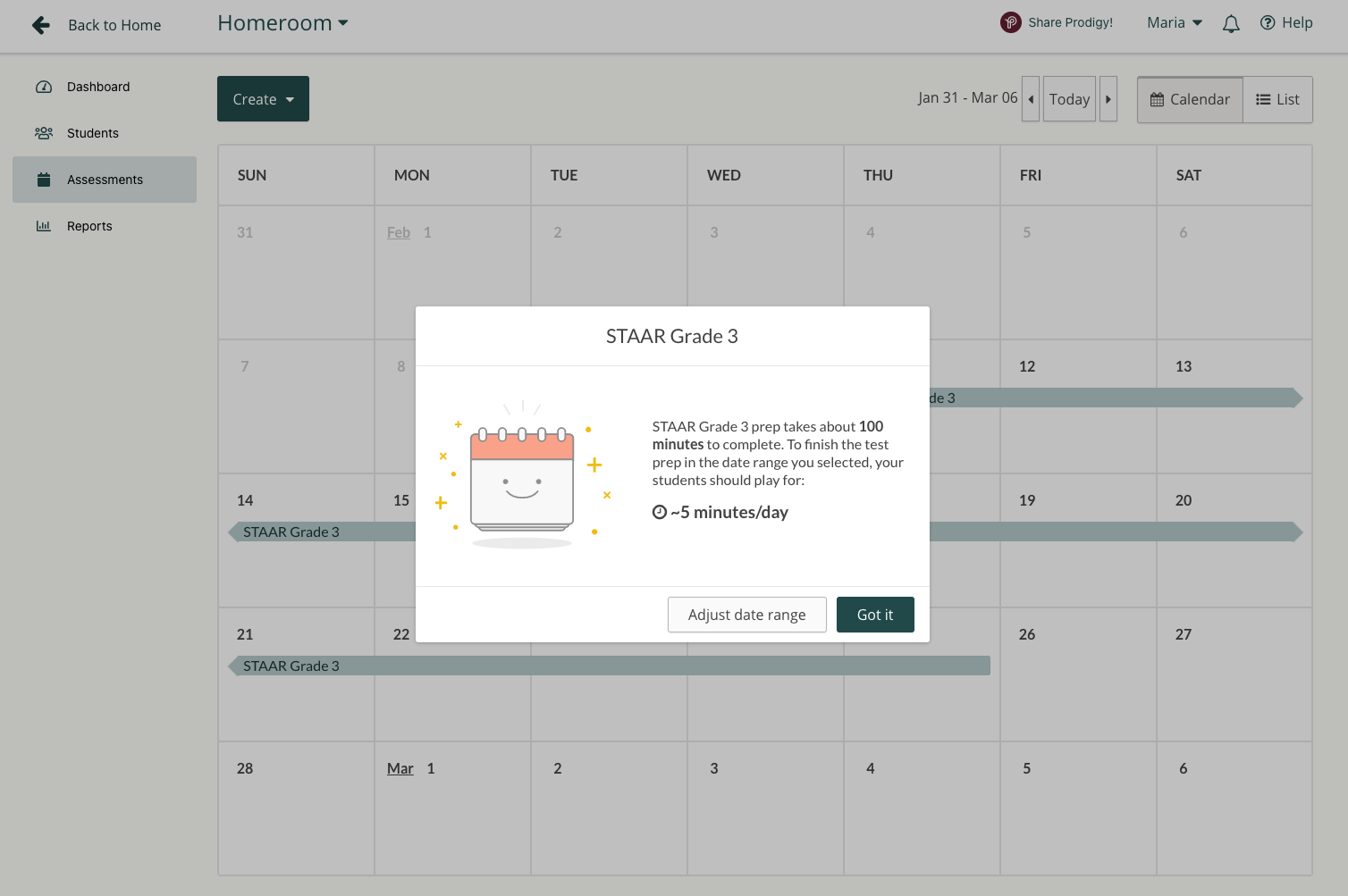 Screenshot of the pop up that tells teachers how long students need to play to complete a Prodigy Test Prep.