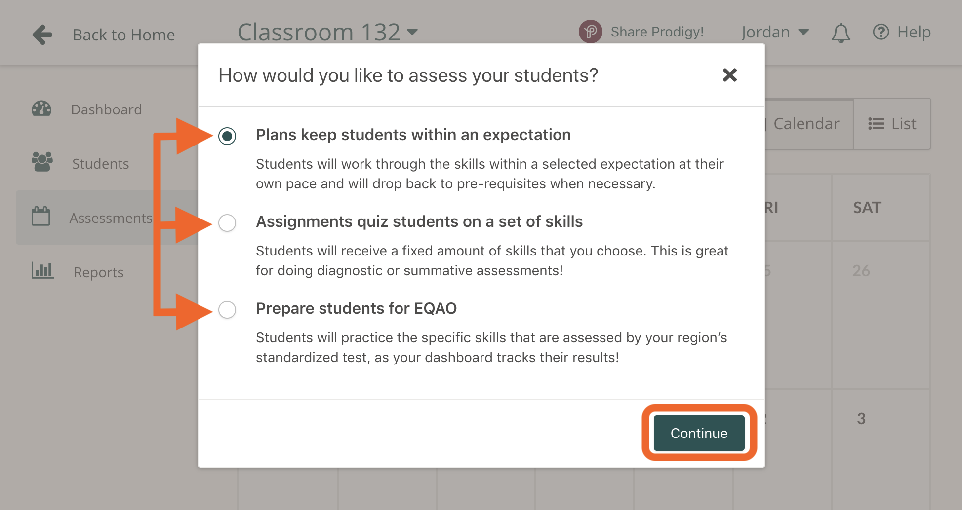 A pop up window in the Prodigy teacher dashboard asking how you would like to assess your students.