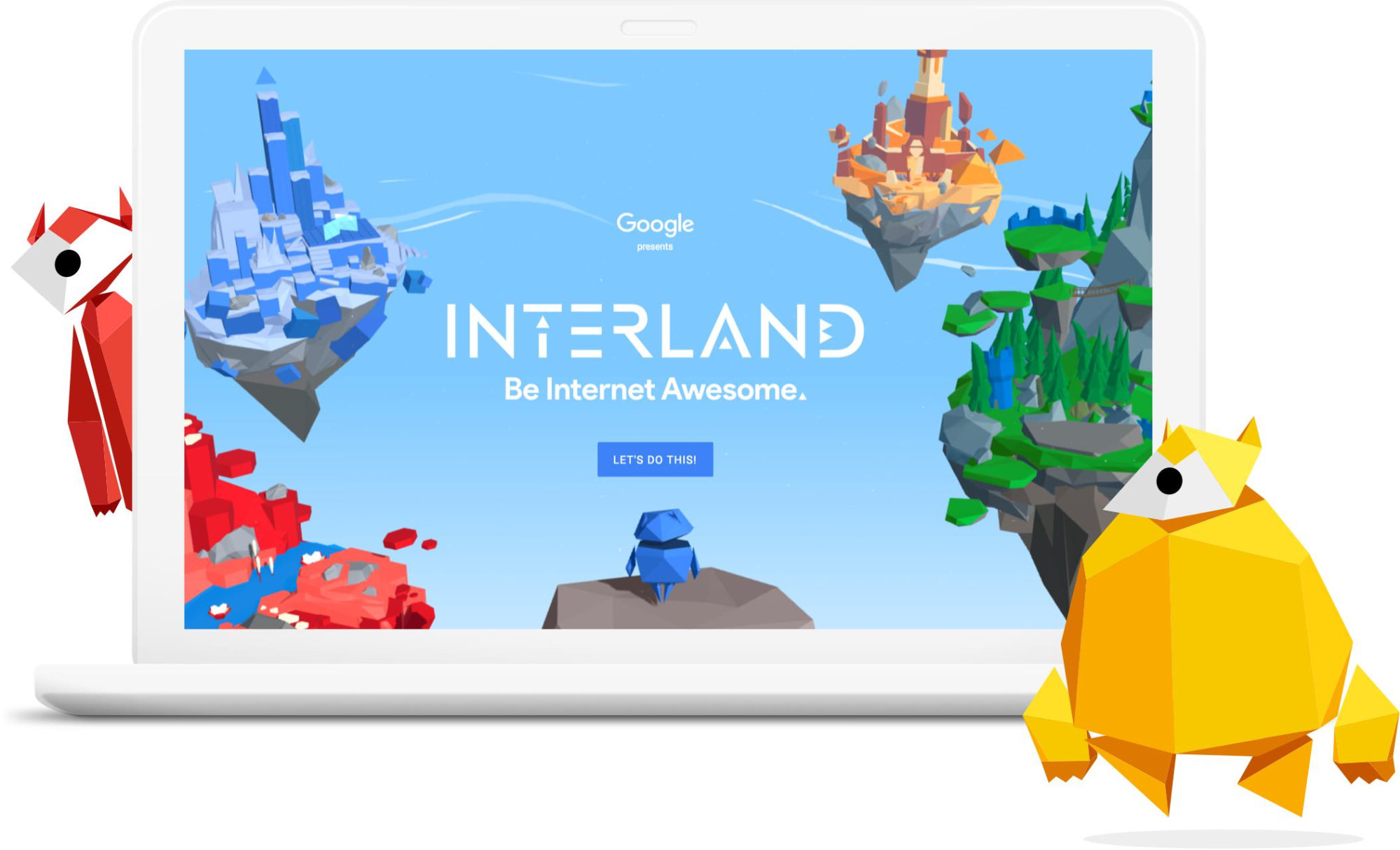 """Computer with Google's """"Be Internet Awesome"""" program on it, surrounded by cartoon characters."""