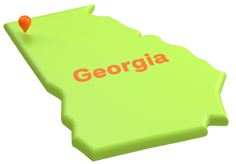 Outline of a map of the state of Georgia with an orange pin where Floyd County Schools are.