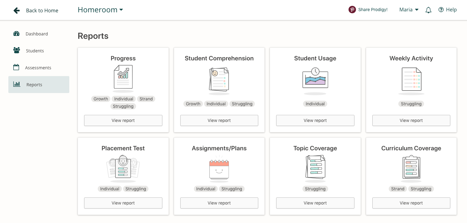 Screenshot of the reports available in Prodigy's teacher dashboard