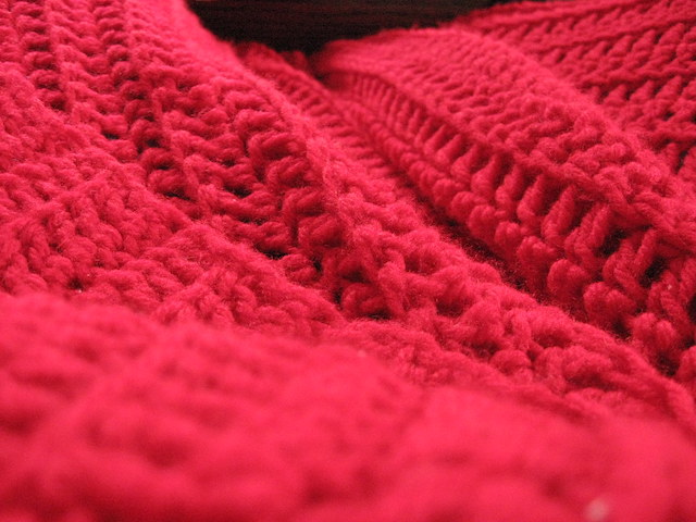 Close-up of red woven blanket