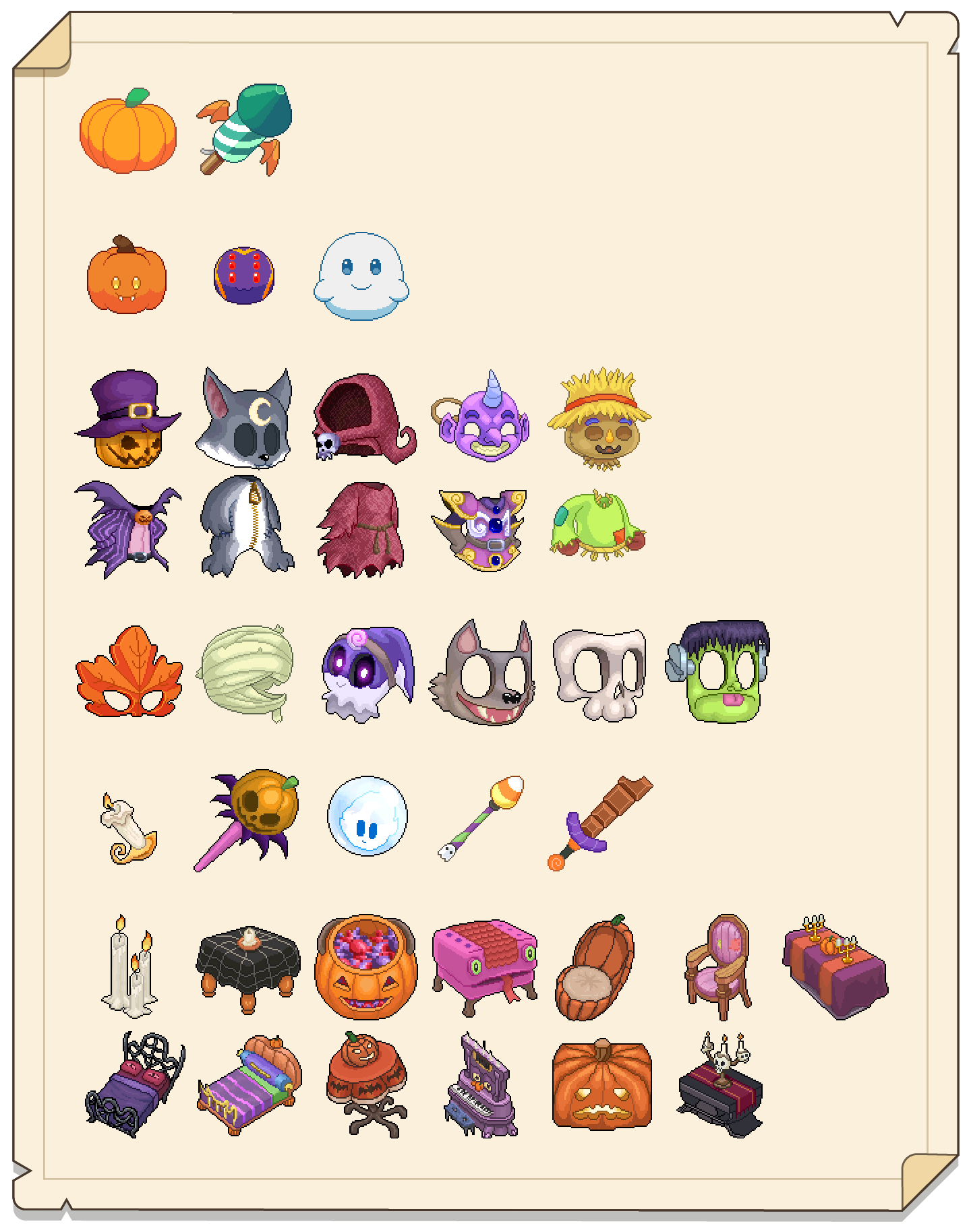 Picture of all the different items available for students during Prodigy's Pumpkinfest celebration
