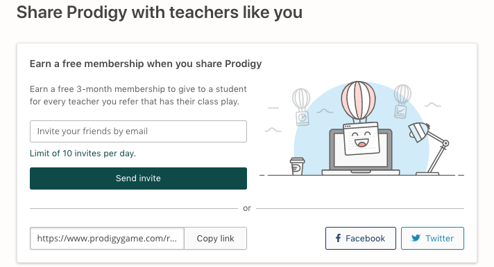 How to send Prodigy invites to teachers for free memberships.