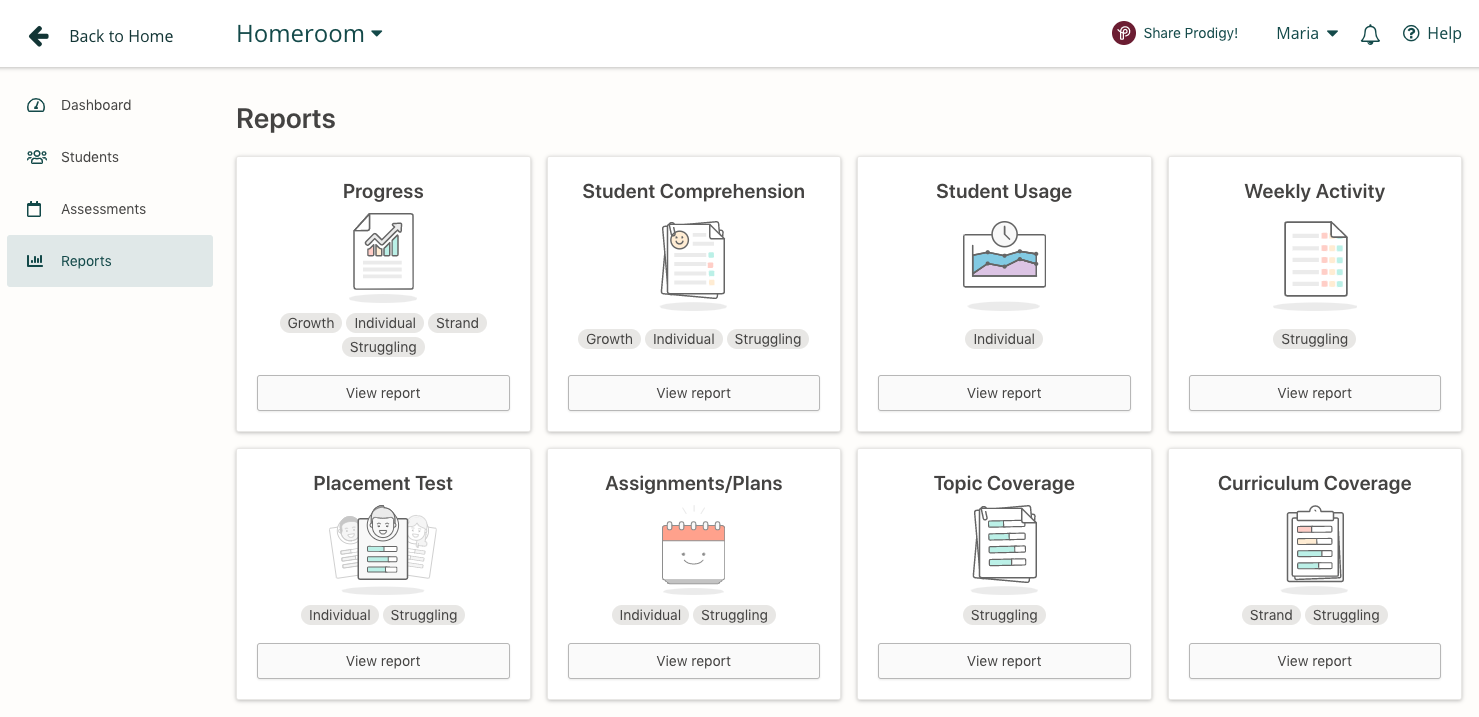 Screenshot of the eight reports available in the Prodigy teacher dashboard.