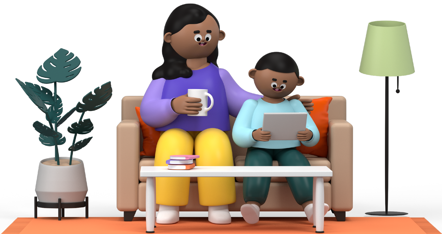 Animation of a mother and her son sitting on a couch using a tablet.