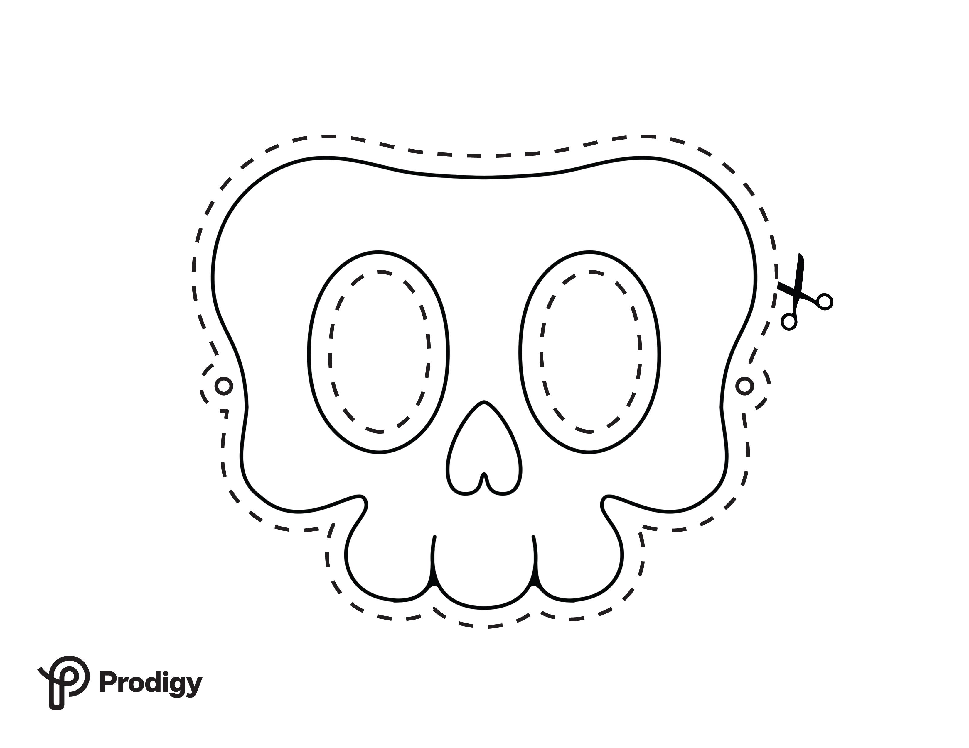 Printable skull mask - black and white