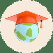 A circle image of a globe wearing an orange graduation cap.
