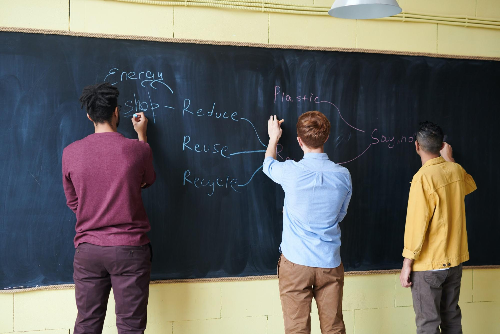 Three students stand at a blackboard and draw a flowchart.